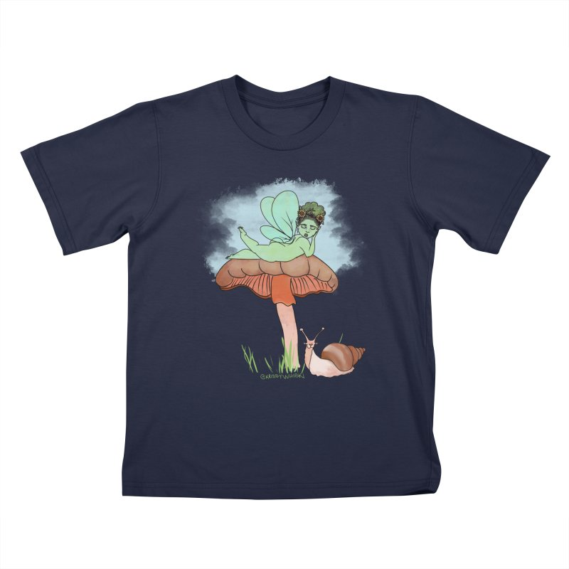 Fairie on Mushroom with Snail Friend Kids T-Shirt by Whiski Tee