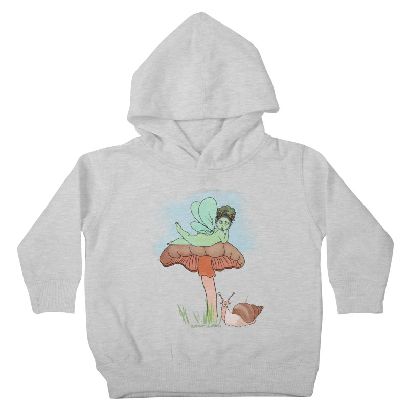 Fairie on Mushroom with Snail Friend Kids Toddler Pullover Hoody by Whiski Tee