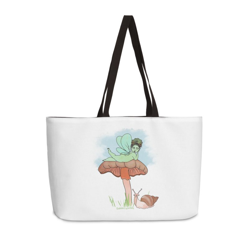 Fairie on Mushroom with Snail Friend Accessories Bag by Whiski Tee