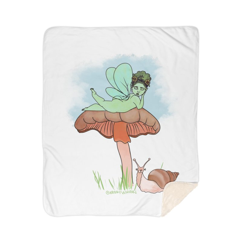 Fairie on Mushroom with Snail Friend Home Blanket by Whiski Tee