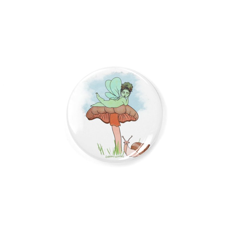 Fairie on Mushroom with Snail Friend Accessories Button by Whiski Tee