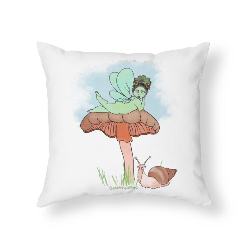 Fairie on Mushroom with Snail Friend Home Throw Pillow by Whiski Tee