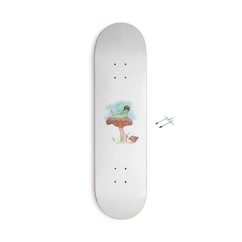 Fairie on Mushroom with Snail Friend Accessories Skateboard by Whiski Tee