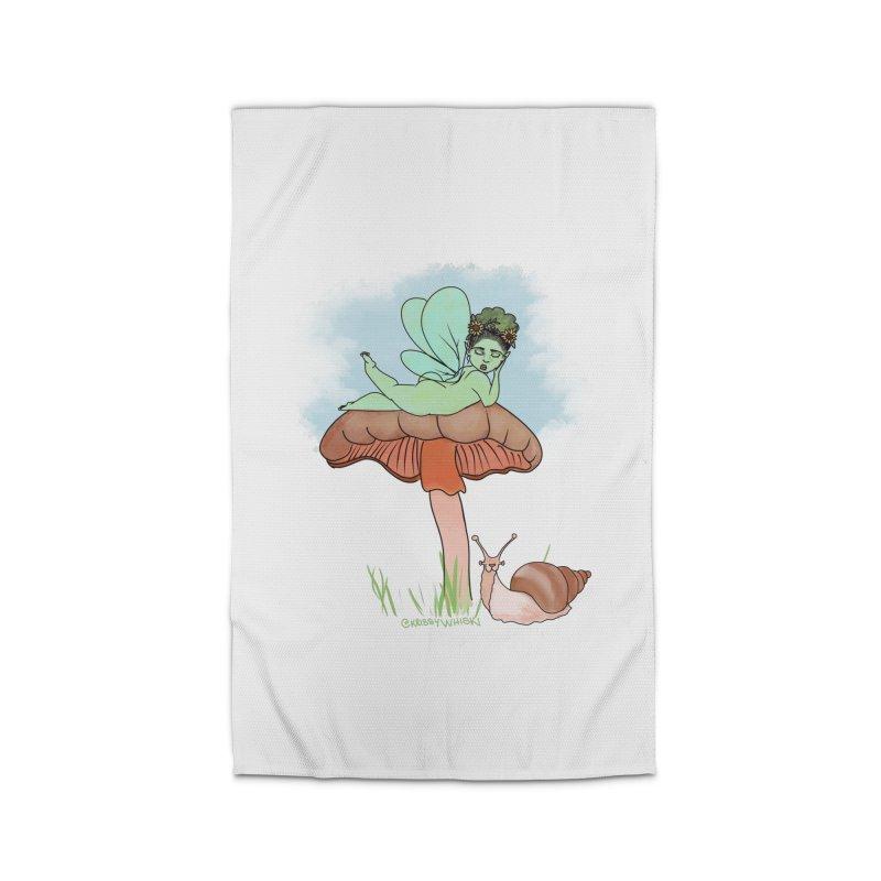 Fairie on Mushroom with Snail Friend Home Rug by Whiski Tee