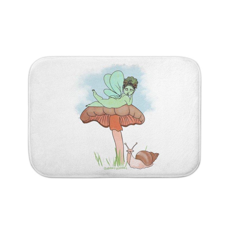 Fairie on Mushroom with Snail Friend Home Bath Mat by Whiski Tee