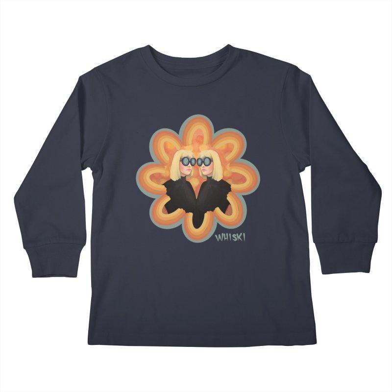 Retro Mod Evil Twins by Krissy Whiski Kids Longsleeve T-Shirt by Whiski Tee