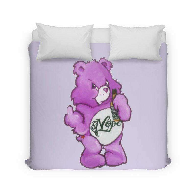 Don't Care Bear Purple Home Duvet by Whiski Tee