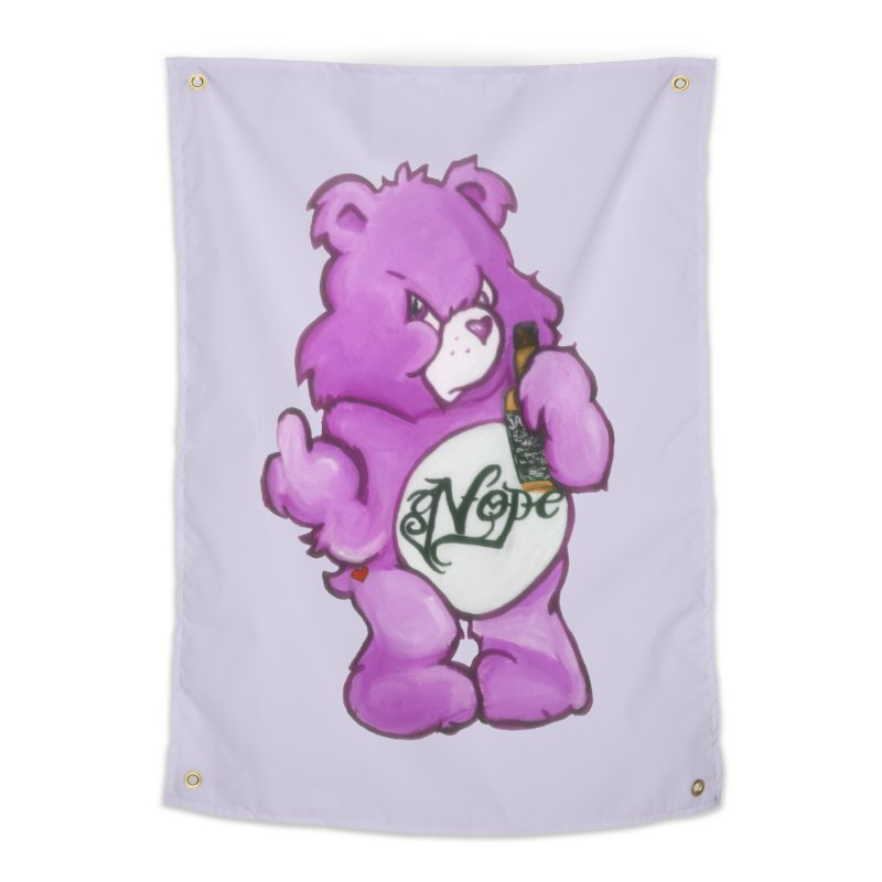 Don't Care Bear Purple Home Tapestry by Whiski Tee