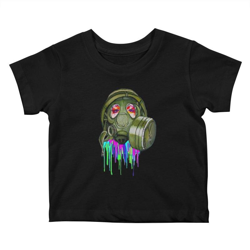 Gas Mask Girl Kids Baby T-Shirt by Whiski Tee
