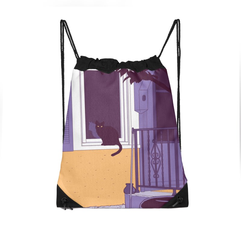 Black Cat Accessories Drawstring Bag Bag by Kristin Tipping