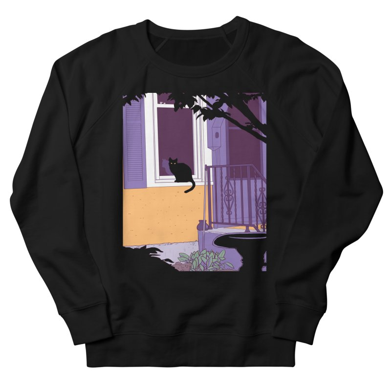 Black Cat in Men's French Terry Sweatshirt Black by Kristin Tipping