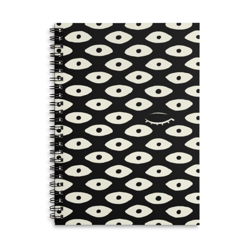 Wink Pattern Accessories Lined Spiral Notebook by Kristin Tipping