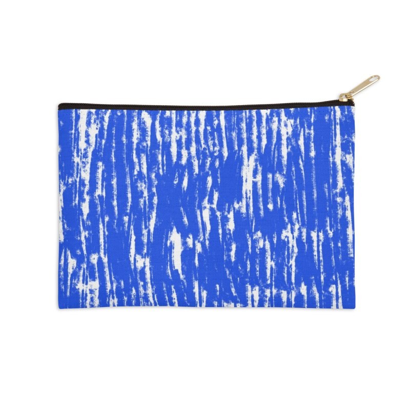 Blue Brush Pattern Accessories Zip Pouch by Kristin Tipping
