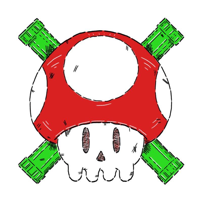 Red Mushroom Skull and Bones by Krist Norsworthy Art & Design