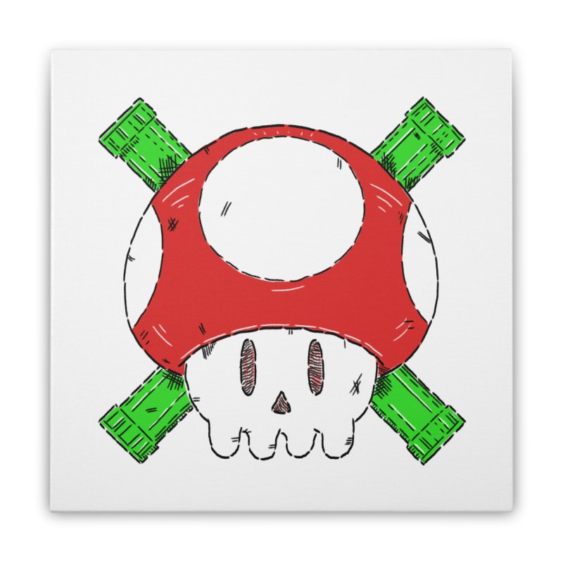 Red Mushroom Skull and Bones Home Stretched Canvas by Krist Norsworthy Art & Design