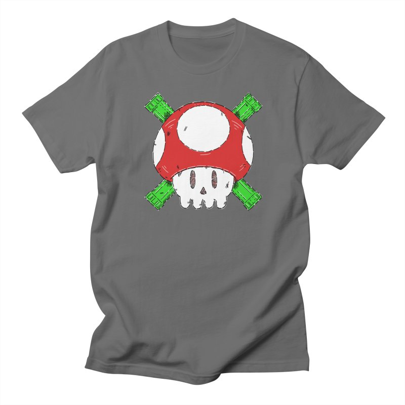 Red Mushroom Skull and Bones Men's T-Shirt by Krist Norsworthy Art & Design
