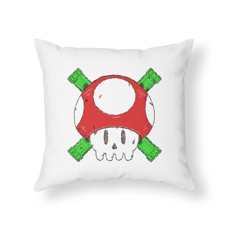 Red Mushroom Skull and Bones Home Throw Pillow by Krist Norsworthy Art & Design
