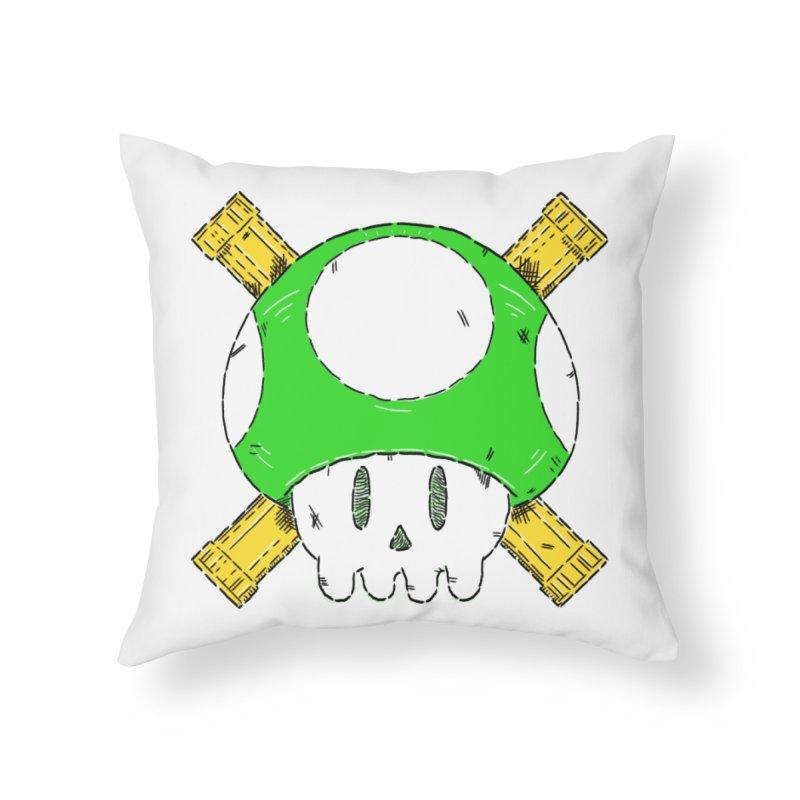 Green Mushroom Skull and Bones Home Throw Pillow by Krist Norsworthy Art & Design