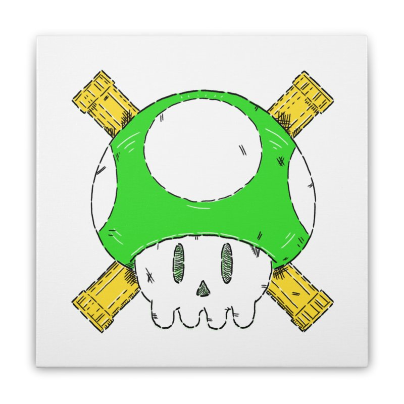 Green Mushroom Skull and Bones Home Stretched Canvas by Krist Norsworthy Art & Design