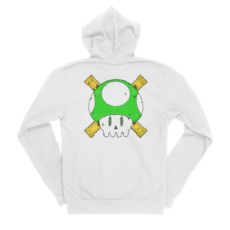 Green Mushroom Skull and Bones Men's Zip-Up Hoody by Krist Norsworthy Art & Design
