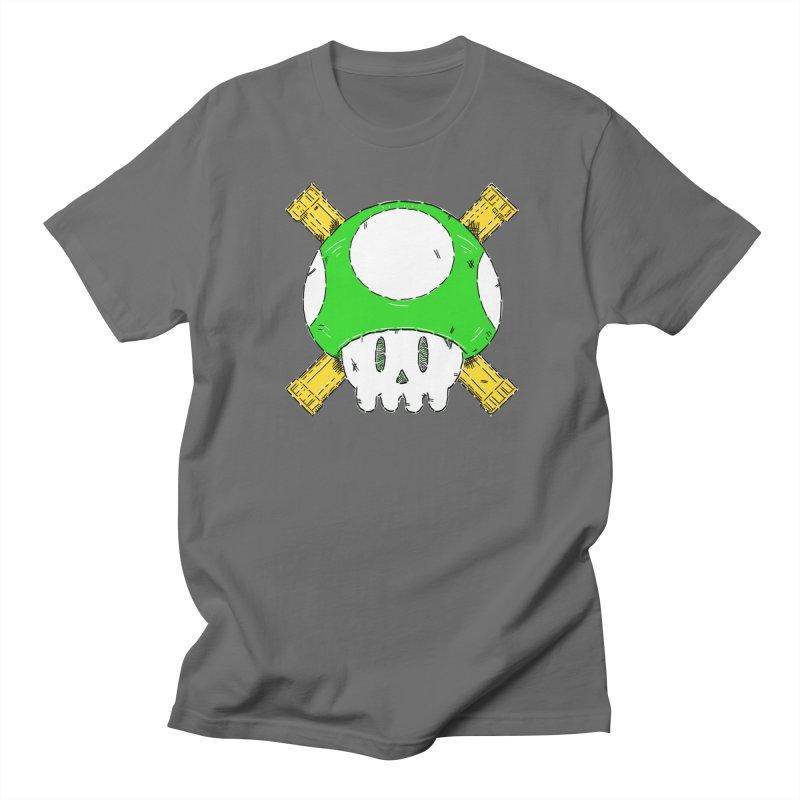 Green Mushroom Skull and Bones Men's T-Shirt by Krist Norsworthy Art & Design