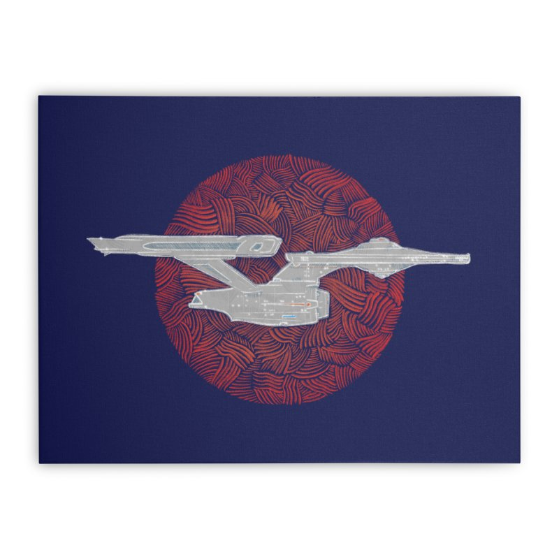 Final Frontier Space Ship Home Stretched Canvas by Krist Norsworthy Art & Design