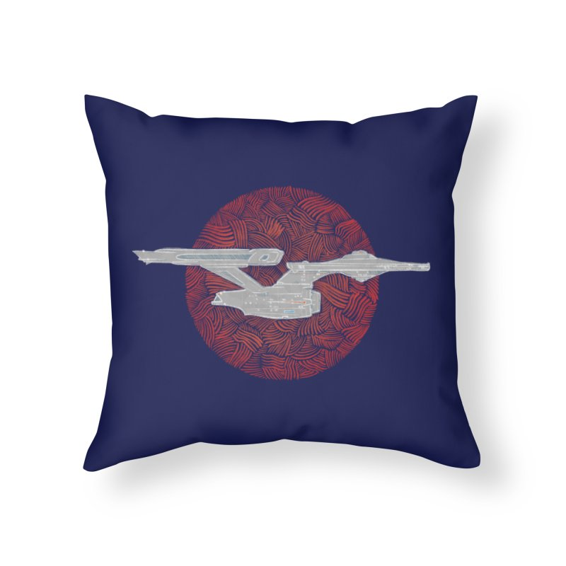 Final Frontier Space Ship Home Throw Pillow by Krist Norsworthy Art & Design