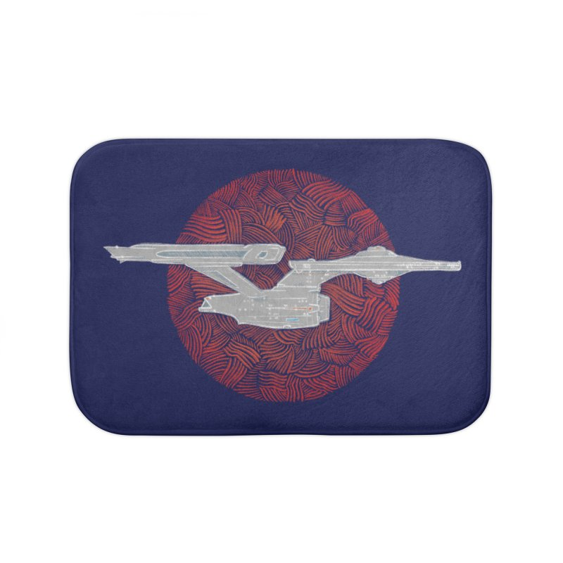 Final Frontier Space Ship Home Bath Mat by Krist Norsworthy Art & Design