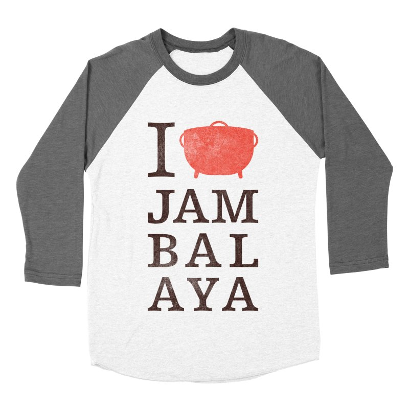 I Love Jambalaya Men's Baseball Triblend Longsleeve T-Shirt by Krist Norsworthy Art & Design