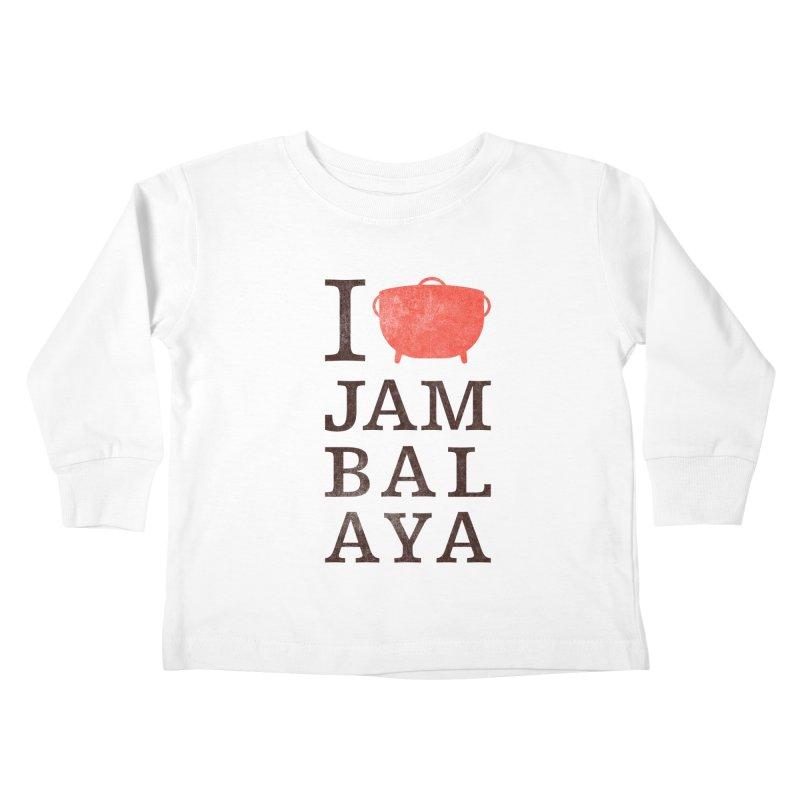 I Love Jambalaya Kids Toddler Longsleeve T-Shirt by Krist Norsworthy Art & Design