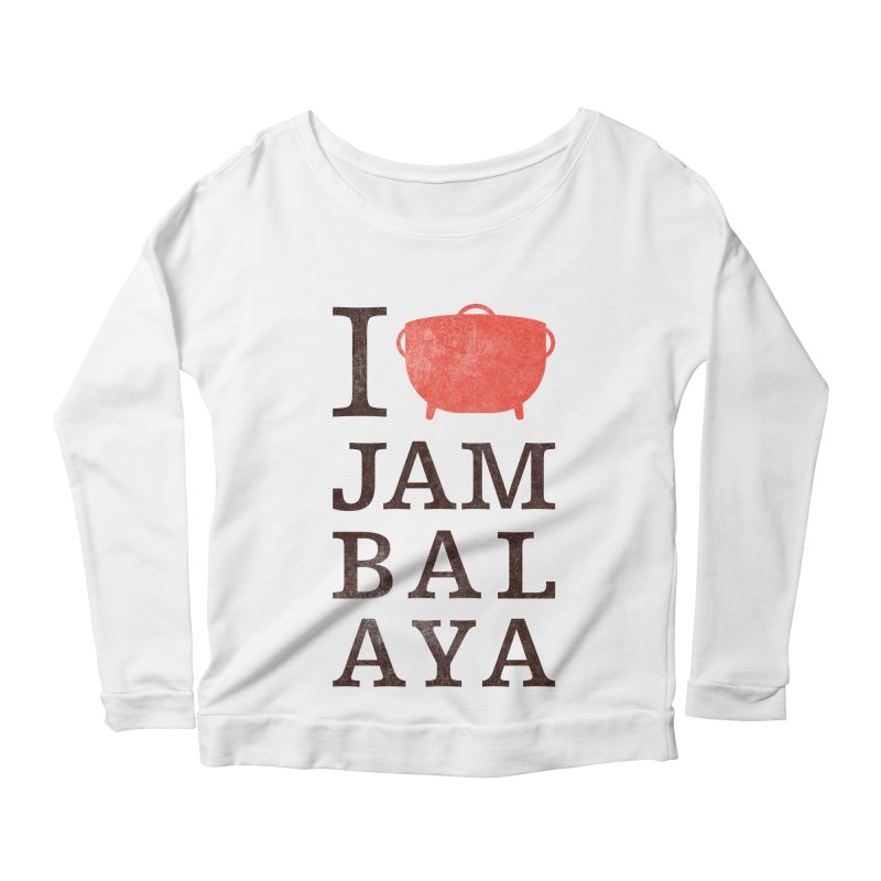 I Love Jambalaya Women's Scoop Neck Longsleeve T-Shirt by Krist Norsworthy Art & Design