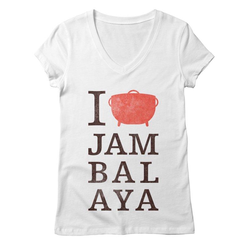 I Love Jambalaya Women's Regular V-Neck by Krist Norsworthy Art & Design