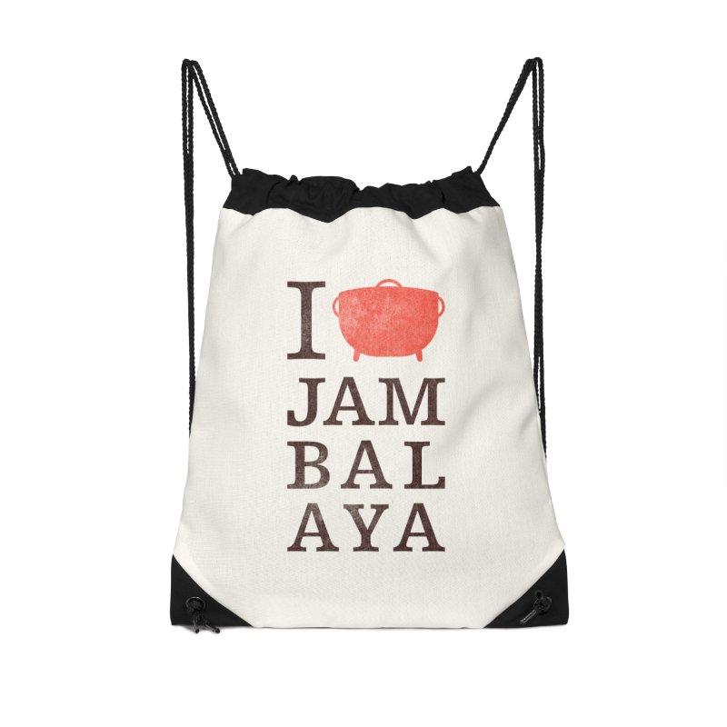 I Love Jambalaya Accessories Drawstring Bag Bag by Krist Norsworthy Art & Design