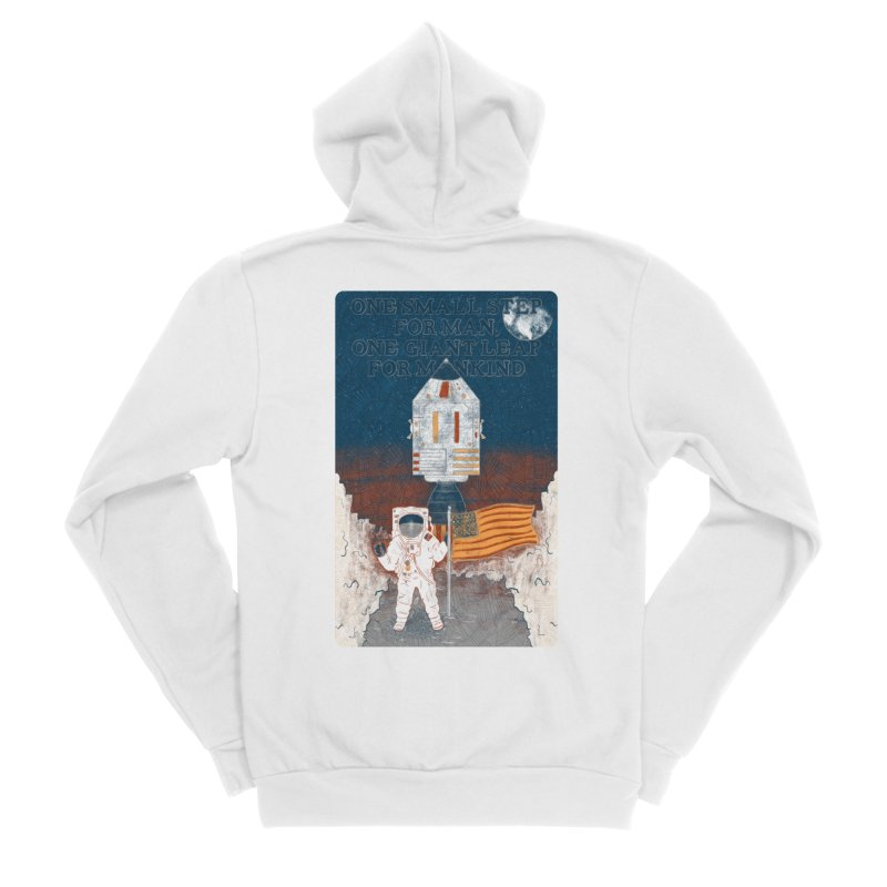 One Small Step Women's Sponge Fleece Zip-Up Hoody by Krist Norsworthy Art & Design