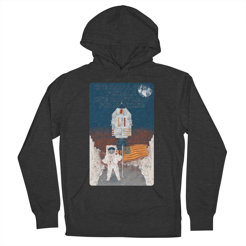 One Small Step Men's French Terry Pullover Hoody by Krist Norsworthy Art & Design