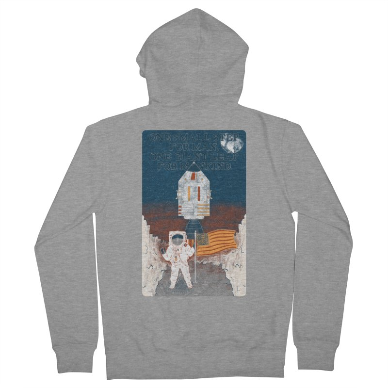 One Small Step Men's French Terry Zip-Up Hoody by Krist Norsworthy Art & Design