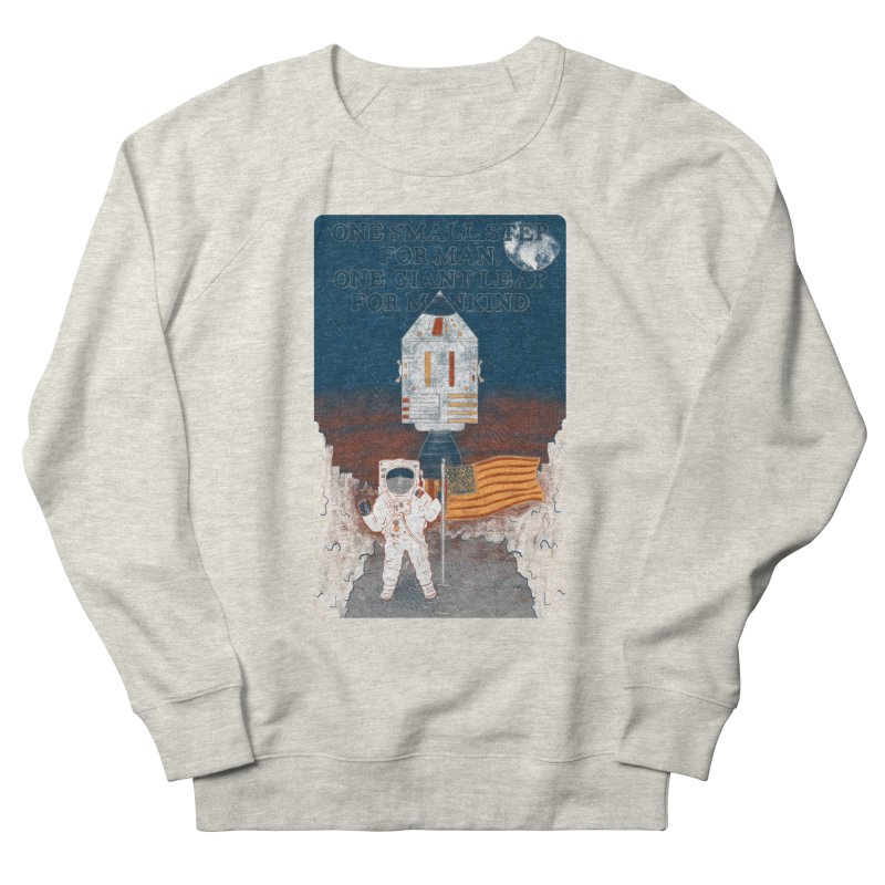 One Small Step Men's French Terry Sweatshirt by Krist Norsworthy Art & Design