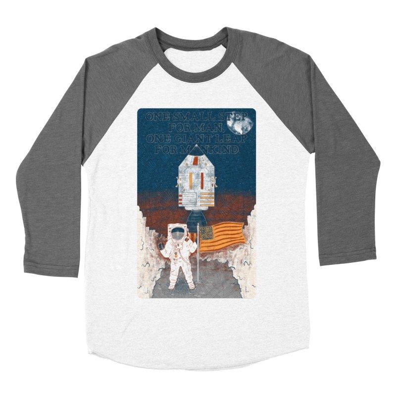 One Small Step Men's Baseball Triblend Longsleeve T-Shirt by Krist Norsworthy Art & Design