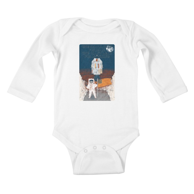 One Small Step Kids Baby Longsleeve Bodysuit by Krist Norsworthy Art & Design