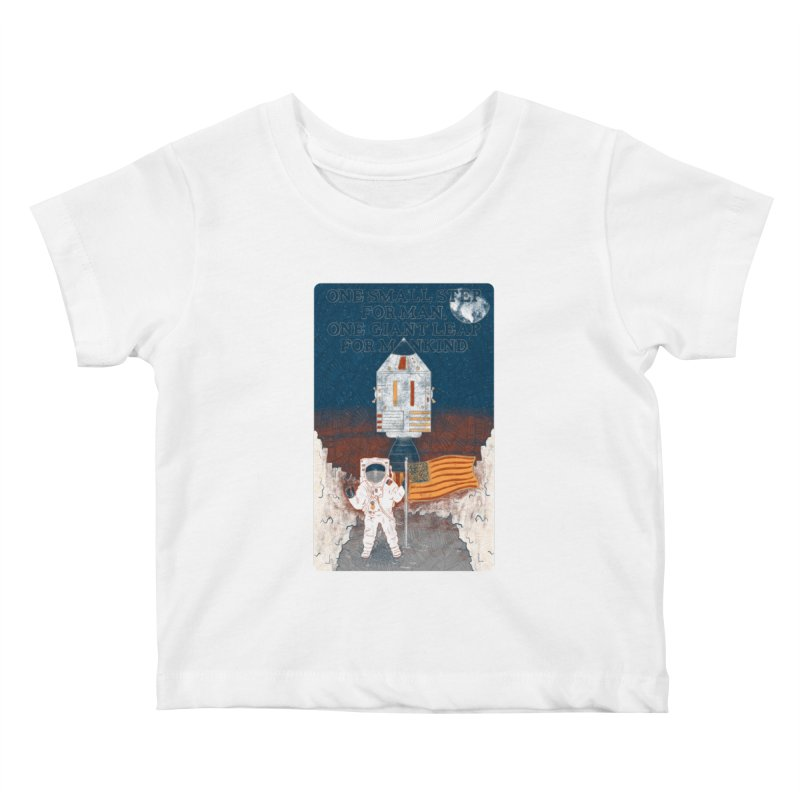 One Small Step Kids Baby T-Shirt by Krist Norsworthy Art & Design
