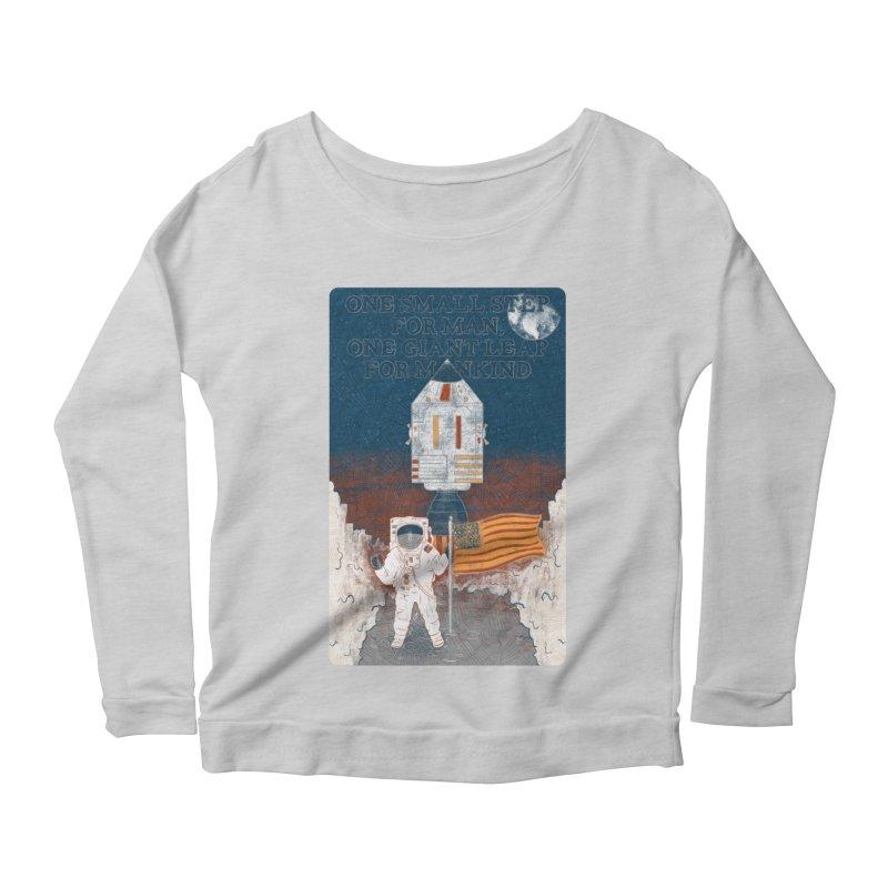 One Small Step Women's Scoop Neck Longsleeve T-Shirt by Krist Norsworthy Art & Design