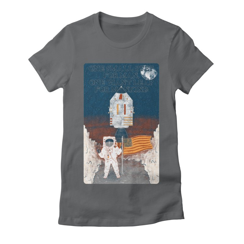 One Small Step Women's Fitted T-Shirt by Krist Norsworthy Art & Design