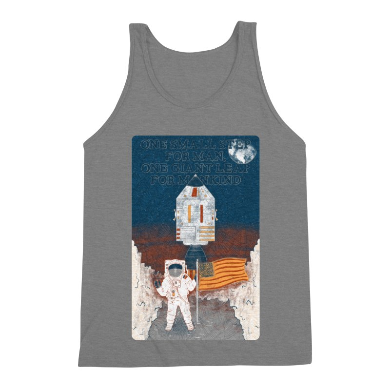 One Small Step Men's Triblend Tank by Krist Norsworthy Art & Design