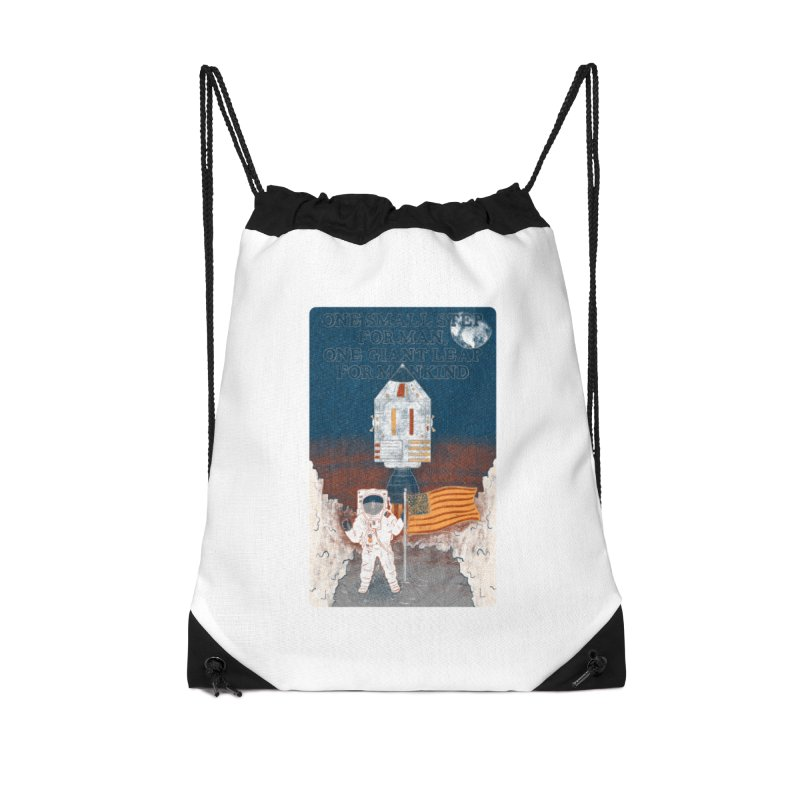 One Small Step Accessories Drawstring Bag Bag by Krist Norsworthy Art & Design