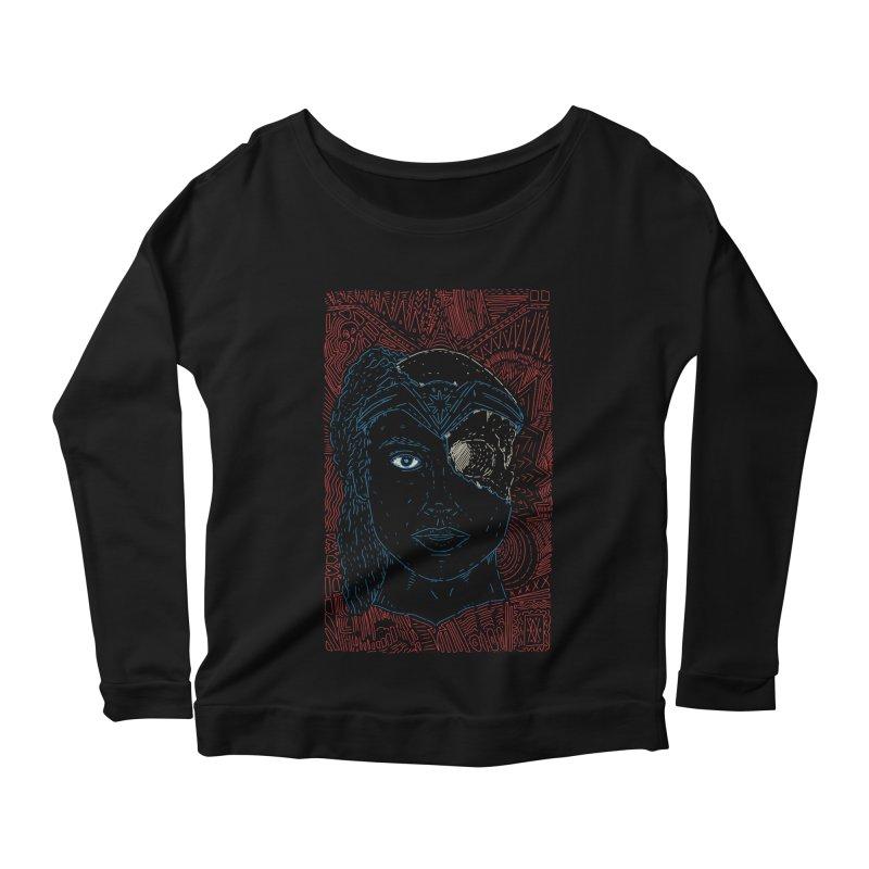 Amazonian Skull Women's Scoop Neck Longsleeve T-Shirt by Krist Norsworthy Art & Design