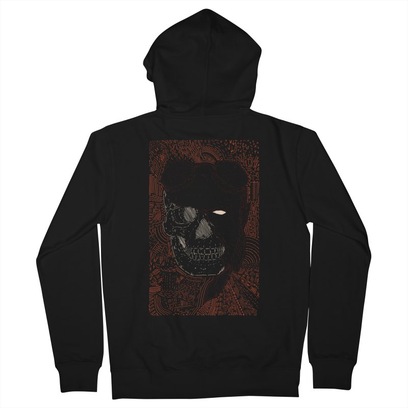 Hades Man Skull Men's French Terry Zip-Up Hoody by Krist Norsworthy Art & Design
