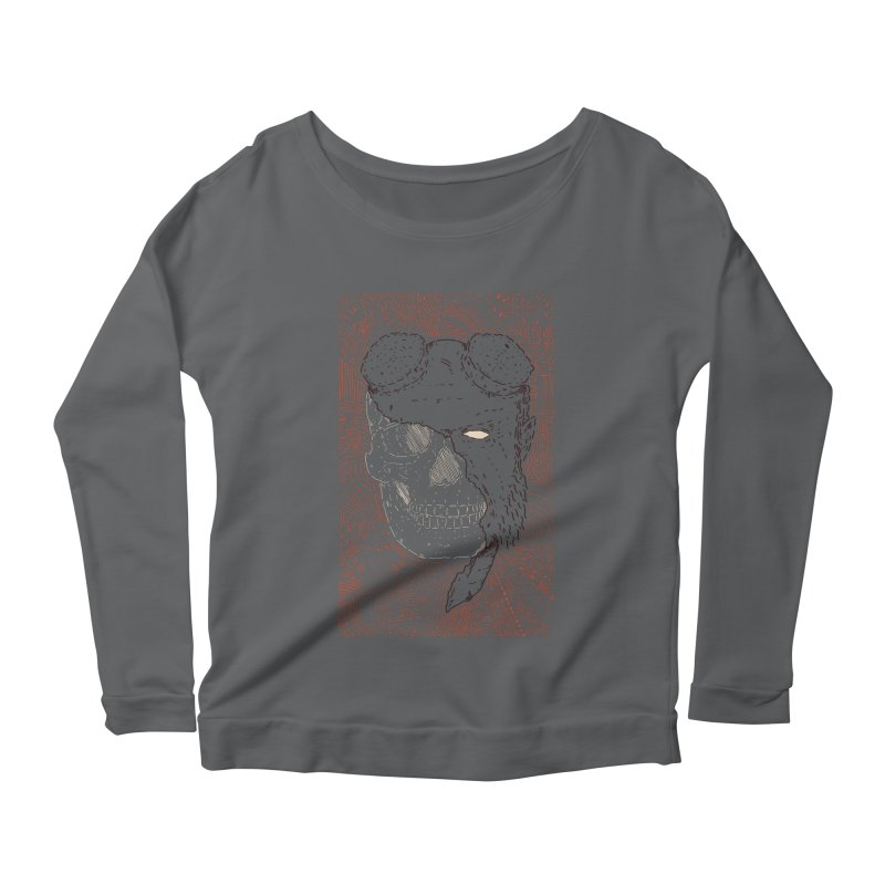 Hades Man Skull Women's Scoop Neck Longsleeve T-Shirt by Krist Norsworthy Art & Design