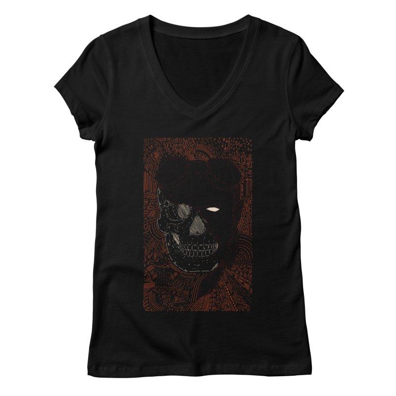 Hades Man Skull Women's Regular V-Neck by Krist Norsworthy Art & Design