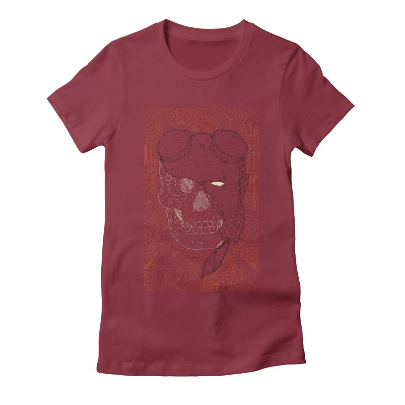 Hades Man Skull Women's Fitted T-Shirt by Krist Norsworthy Art & Design