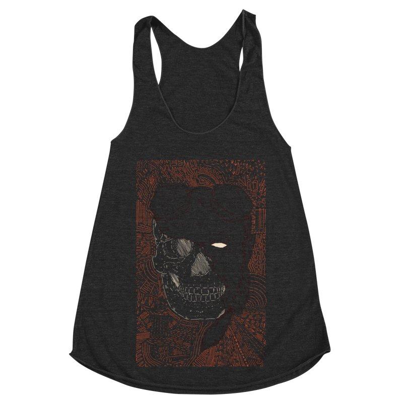 Hades Man Skull Women's Racerback Triblend Tank by Krist Norsworthy Art & Design